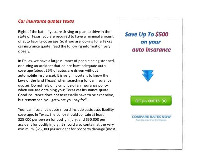 Car Insurance Quotes Texas Auto Insurance Quotes Insurance