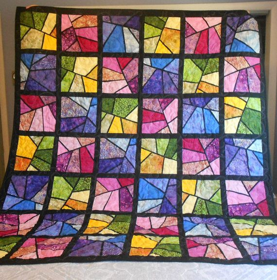 316 best stained glass quilt images on pinterest stained for Window pane quilt design