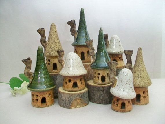 Garden Fairy Houses -Made to Order - Pick  Your Set of 3 Houses - Handmade on Potters Wheel