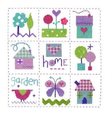 """Gingham Sampler (CSKGS144)  New 'Home' sampler cross stitch kit which includes the addition of ribbon and buttons. Designed by The Stitching Shed.  Contents: 14 count aida fabric, anchor threads, ribbon, buttons, chart and full instructions.  Size: 8.5"""" x 9"""".  *Usually dispatched within 5 working days*"""