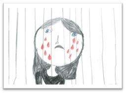 Drawing of girl crying behind bars by child in detention