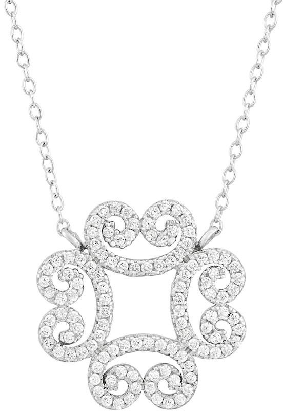 Kohl's Cubic Zirconia Sterling Silver Filigree Clover Necklace
