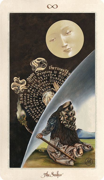 """""""The Seeker"""" Pagan Otherworlds Tarot by Uusi. Painting by L. Gits, hand lettering by P. Dunham. 2015."""