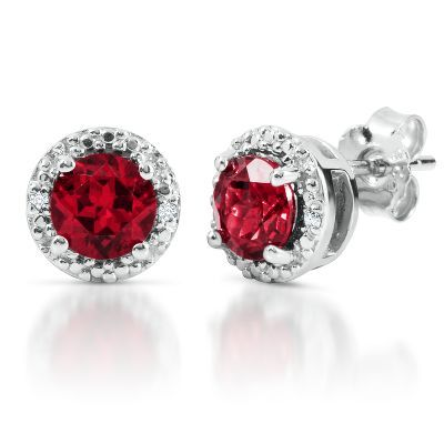 Round Lab-Created Ruby Earrings in Sterling Silver with Diamond Accents, available at #HelzbergDiamonds