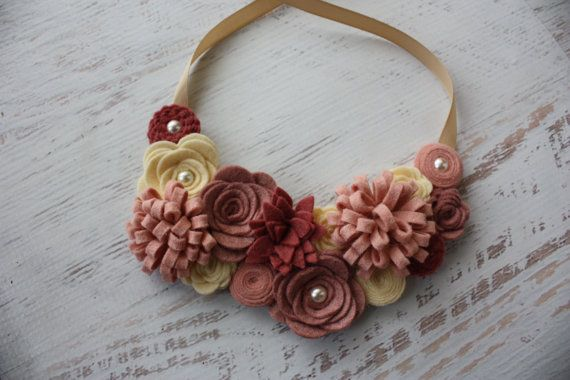 Wool Felt Flower Bib Necklace - Vintage Pinks and Cream - Open Tieback
