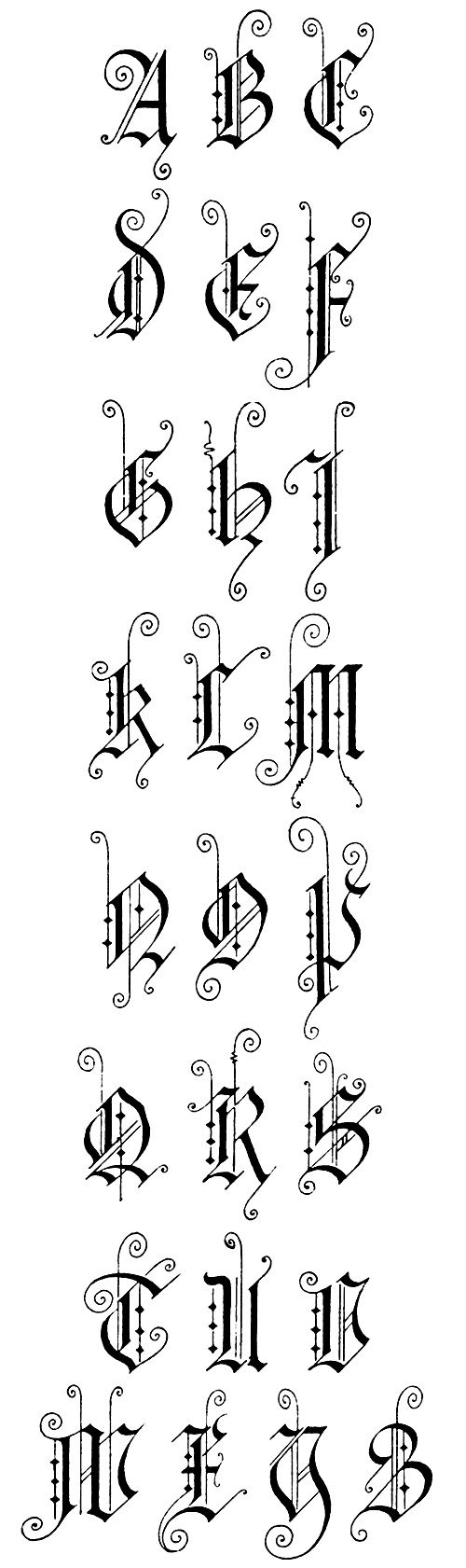 Gothic Lettering :: German Gothic 2 - Capitals