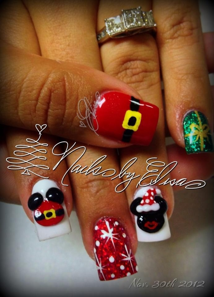 Mickey and Minnie Christmas Nails!!