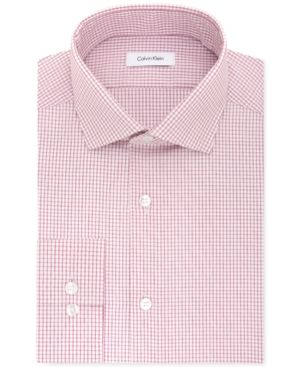 Calvin Klein Steel Men's Slim-Fit Non-Iron Performance Pink Check Dress Shirt - Red 15.5 32/33