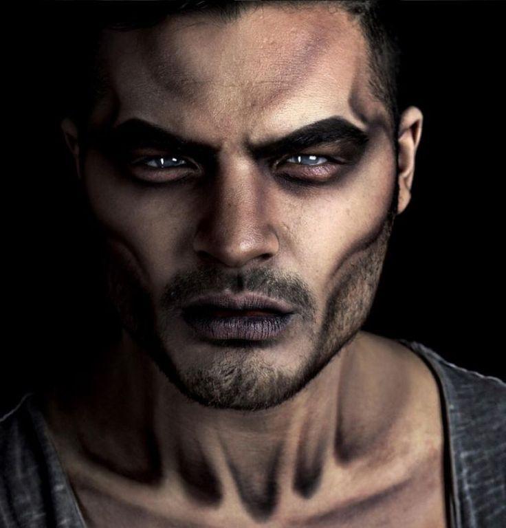 maquillage halloween noir homme