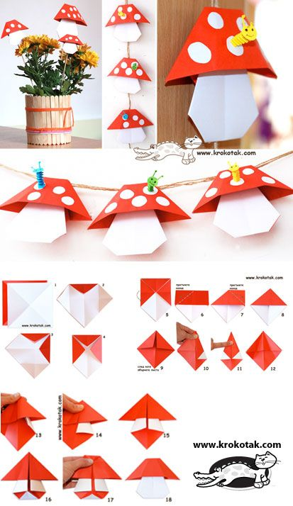 ORIGAMI Mushrooms thinking fairy village play