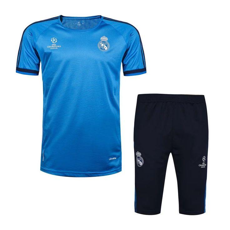 Real Madrid 2016/17 Blue Short Sleeve Men Tracksuit Slim Fit