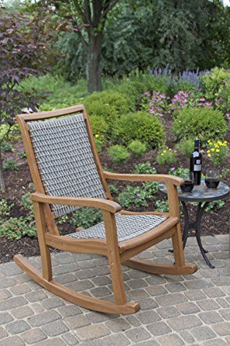 Outdoor Interiors Resin Wicker And Eucalyptus Rocking Chair Brown And Grey 0 Coastal And Beach