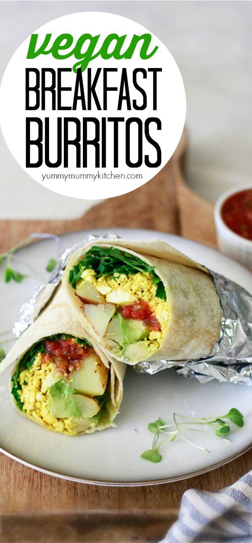 Vegan Breakfast Burrito With Tofu Scramble And Avocado Recipe Vegan Breakfast Burrito Vegan Breakfast High Protein Vegan Breakfast