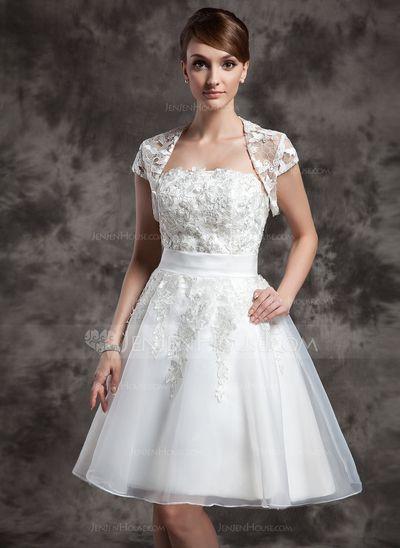 Kort ärm Tyll Bröllop Bolerojackor (013014986)