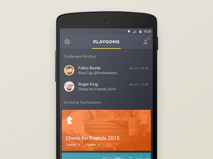 Playgong App, by Deividas Graužinis, via dribbble
