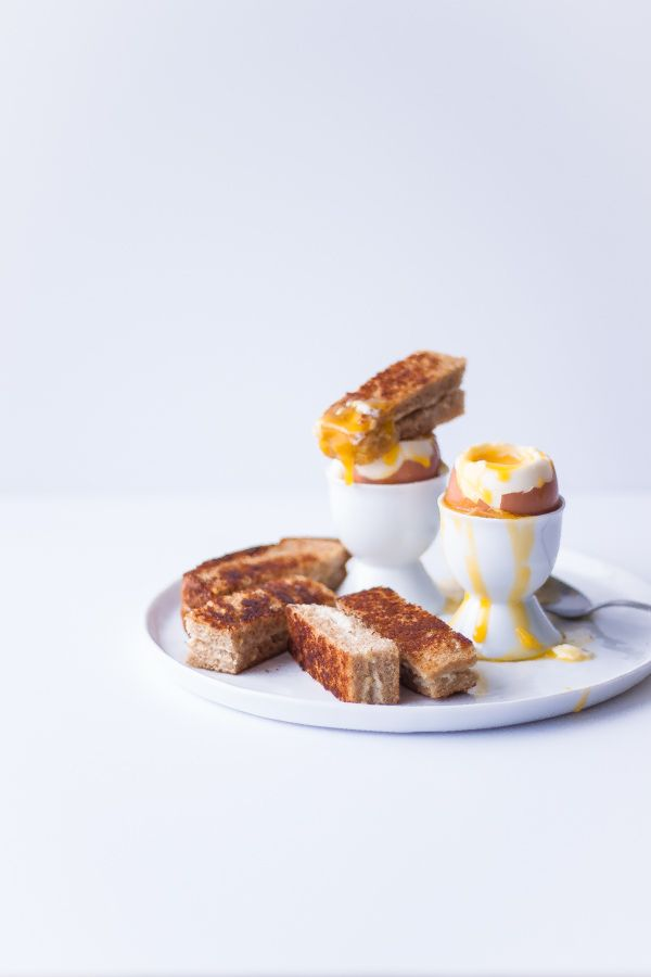 Perfectly soft-boiled eggs with dipping grilled cheeses: one of the fabulous egg dishes for Easter and Passover featured on the #CabotBlog recipe roundup.