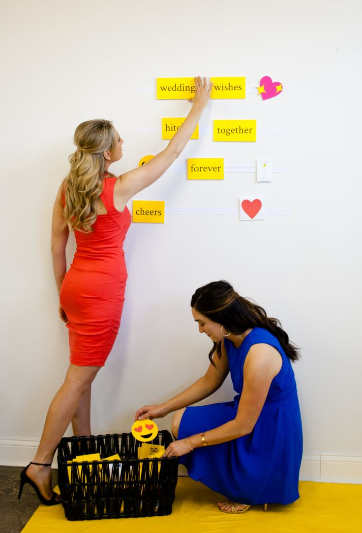 Best Wedding Wishes DIY Photo Booth Backdrop. Give wedding guests word tiles and emojis to spell their best wishes. Removes cleanly and easily from walls - no damage! What an easy and clever DIY photobooth and guest book idea!