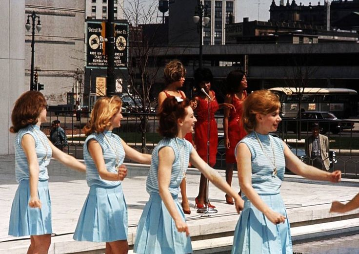 'The Supremes' with Go Go dancers perform on a TV show in 1965 in Detroit Michigan.