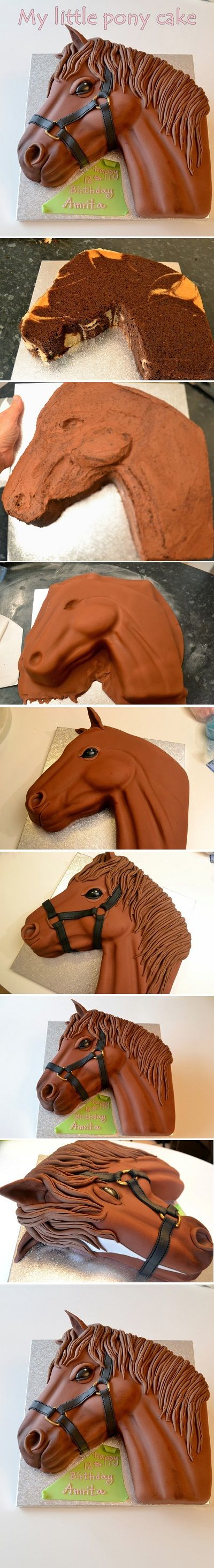 Horse cake-  I love this. I would make it white with lots of colors in the mane if I were doing this as a My Little Pony cake for a kid. :)
