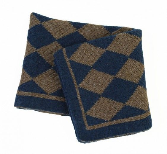 Kipling Wool Blend Throw - Navy and Grey diamond print