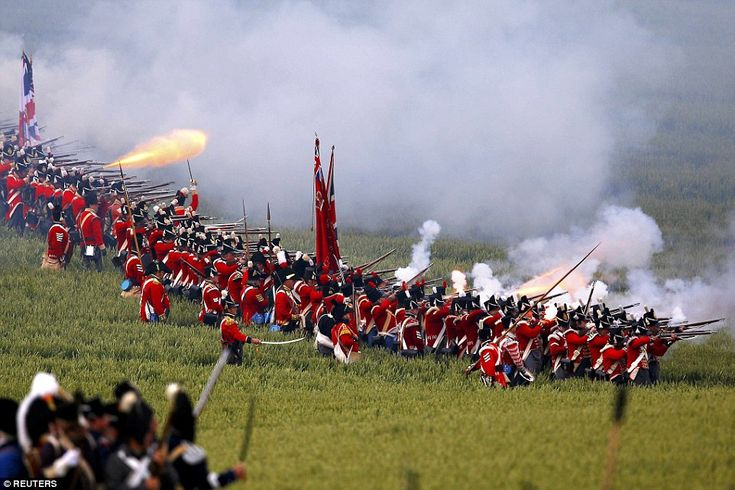 Aim, fire! A battalion of British redcoats take aim at the French during the…