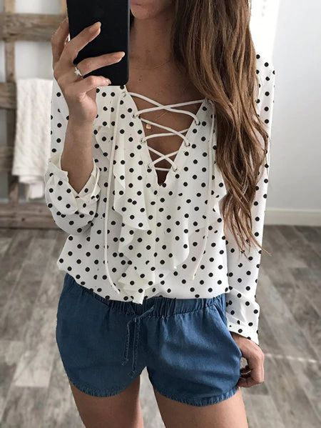 Basic and sexy, this casual chiffon blouse is perfect for go out. With wave point and long sleeve, this top features lace-up front details and V neck design that gives it a street style. Wear it with jeans would be great!