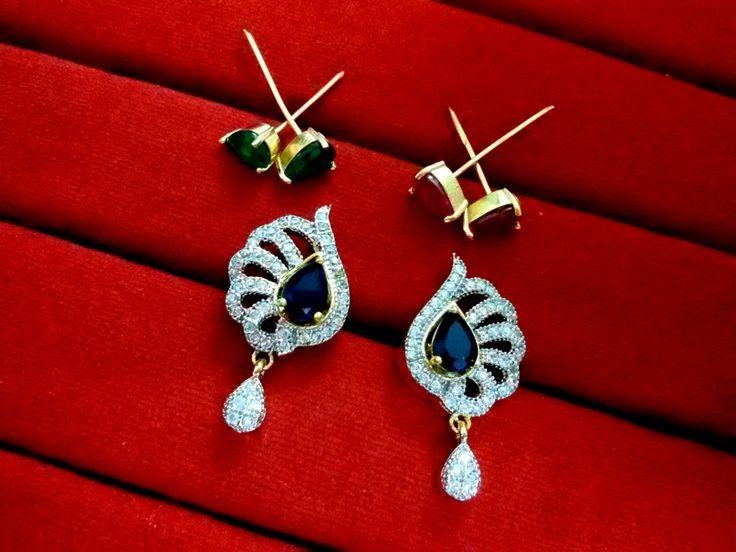 Daphne Six in One Changeable AD Earrings for Women - Blue