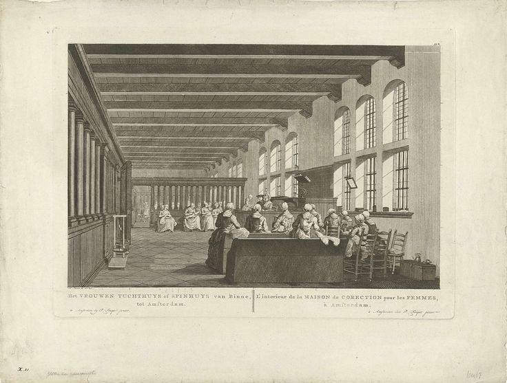 Pierre Fouquet (Jr.) | Interieur van het Spinhuis te Amsterdam, Pierre Fouquet (Jr.), 1760 - 1796 | Interieur van het Vrouwentuchthuis of Spinhuis te Amsterdam waarin vrouwen onder toezicht van een tweetal figuren zitten te naaien en spinnen. Genummerd linksonder met bruine inkt: X.21.