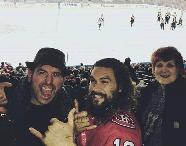 Taking a break at the good ol' hockey game. The St. John's Ice Caps. #TerryRyan #JasonMomoa and Mom❤ @prideofgypsies #icecaps #mileone Credit Twitter @terryryan20