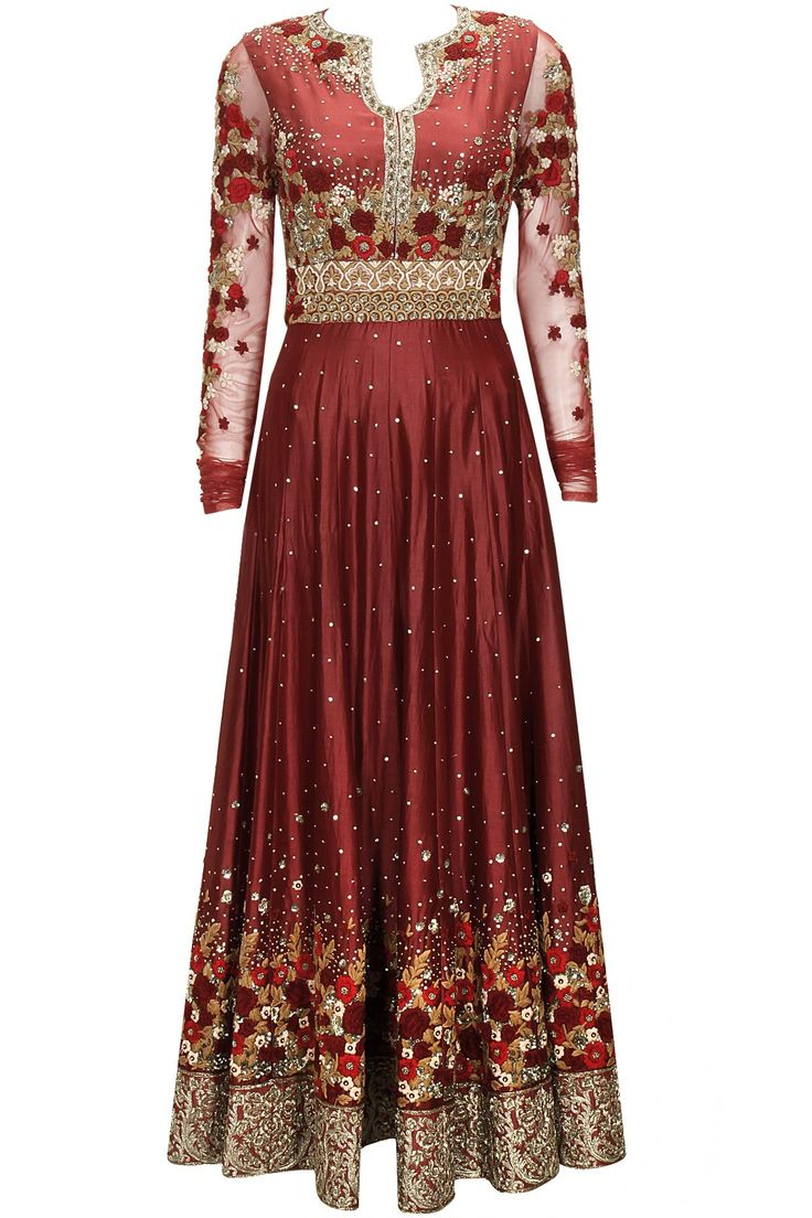 Maroon floral embroidered anarkali set by Varun Bahl. Shop now: http://www.perniaspopupshop.com/designers/varun-bahl #perniaspopupshop #varunbahl #anarkali #shopnow