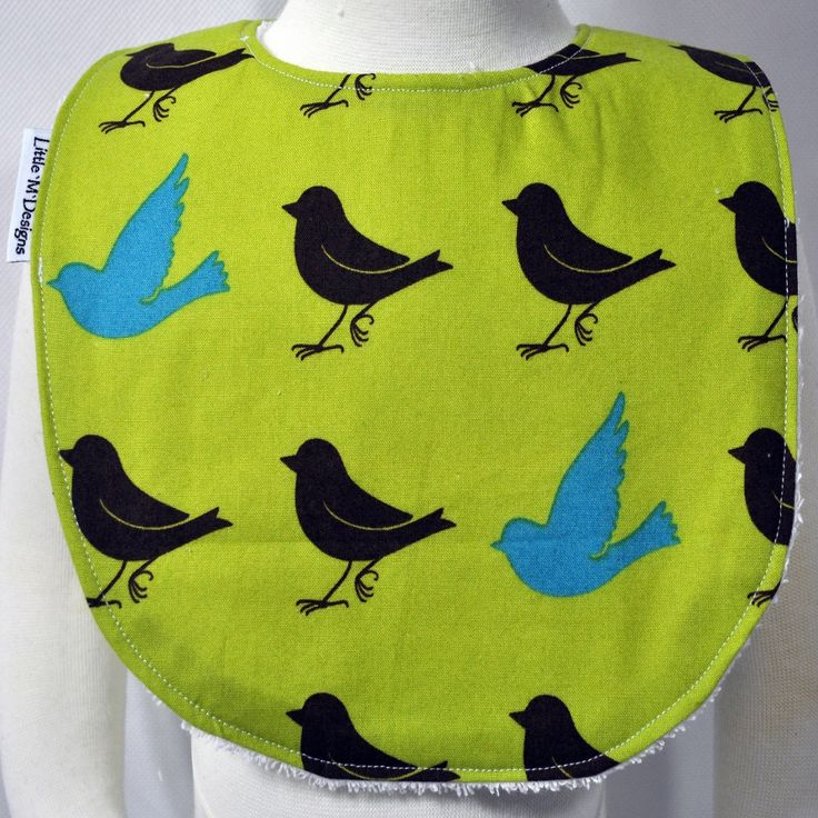 The Fly Away Birdie Bib comes in 2 sizes (Small Bib fits Baby up to 12 Months+ and Large Bib fits Baby/Toddlers 12+ Months).  Neck Circumference: Small Bib 38cm, Large Bib 40 cm.  All bibs are handmade and designed here in Australia by a boutique baby designer label 'Little M Designs'. Bibs are made from quality fabric, the backing to all bibs are terry towelling ensuring that each bib has great absorbency. All bibs close with a press stud/snap clip.