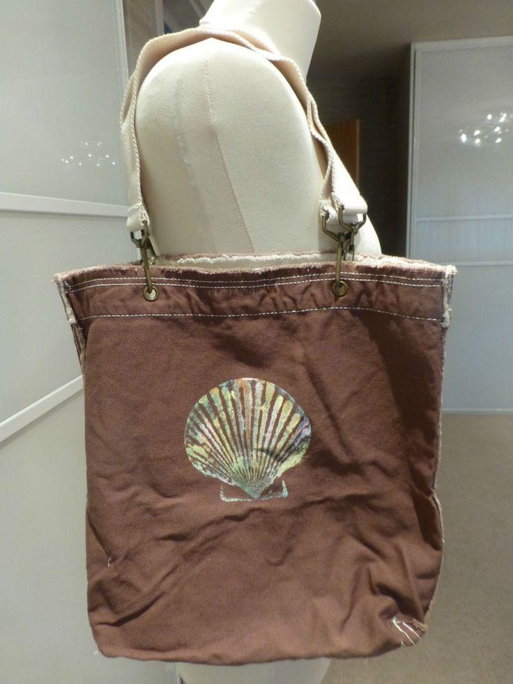 BNNT AUTHENTIC PIGMENT Brown Cotton Beach Bag Handbag Tote Shoulder Bag Shopper