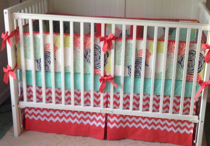 mint and coral crib bedding 3