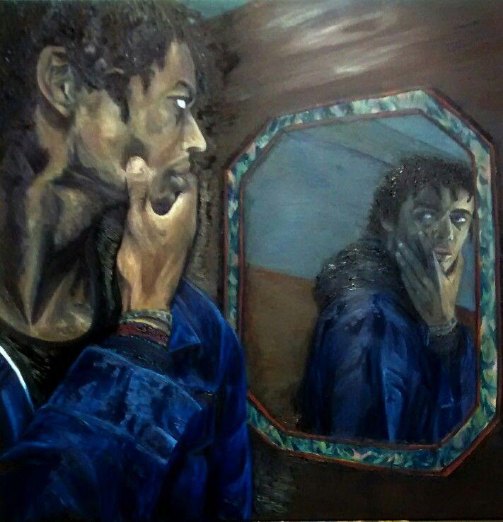 Psychological Self Portrait by Stephen.1m x1m oil on canvas.