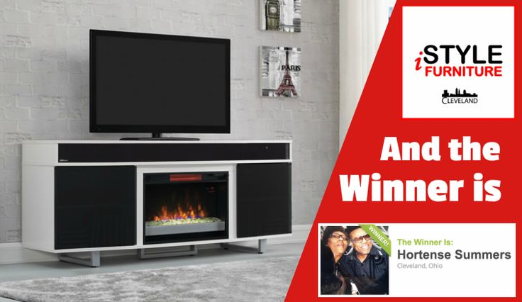iStyle Furniture is happy to announce the Winner of our Valentines Day Giveaway! Congratulations Hortense Summers on winning this stunning All-in-one TV/Media Stand/Fireplace. And thank you to everyone who participated!