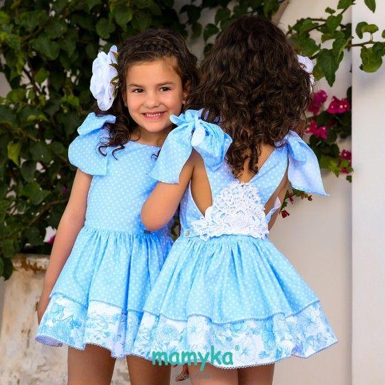 54428542b5 Vestido Niña Vuelo Azul Topitos. BABINÉ