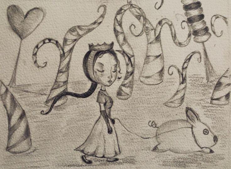 Illustrazione, Ceccoli, Alice nel paese delle meraviglie, bianco e nero matite, Francesca Ropolo