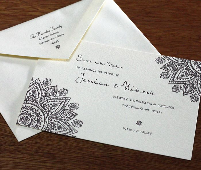 A simple save the date card for this Indian inspired wedding suite with mandala details. Wamil | Invitations By Ajalon | www.invitationsbyajalon.com