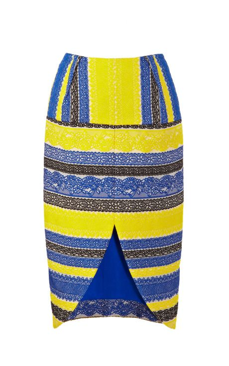 Striped Lace Jacquard Tulip Skirt by  for Preorder on Moda Operandi