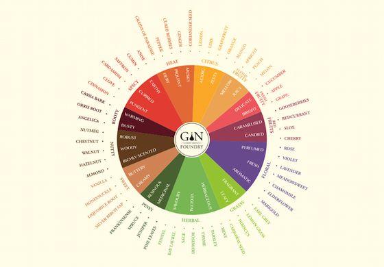 Gin Flavour Wheel - Gin aroma wheel | Roue des arômes du Gin - roue aromatique
