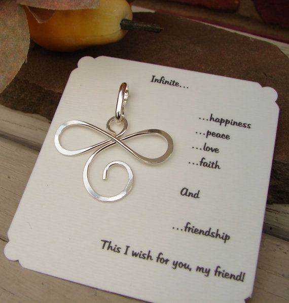 Sterling Silver Infinite Pendant wishing Happiness Peace by Oogle, $16.00: Tattoo'S Idea, Wire Angel, Bridesmaid Gifts, Cool Tattoo'S, Sterling Silver, Great Gifts, Dragonfly Tatoo, Angel Tatoo, Infinite Pendants