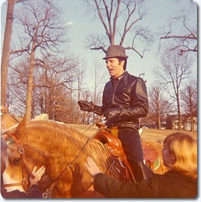 Elvis Presley : Horseback riding at Graceland : February 10, 1968. Photo by Judy Palmer.
