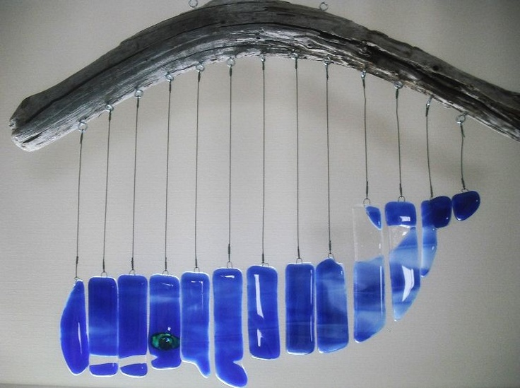 Beautiful glass whale mobile made by talented artist Lynne Webster.