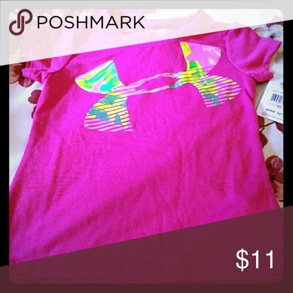 Nwt under armour 2t top shirt girls New with tags Under Armour top Charged cotton Girls 2t Pink with neon colored logo Shirts & Tops Tees - Short Sleeve
