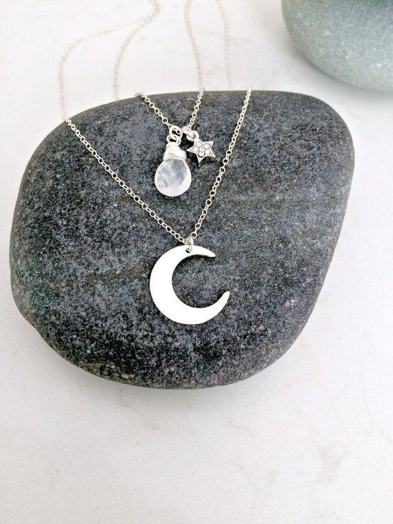 gelaagde maan ketting moonstone necklace cubic door LetItBeLove