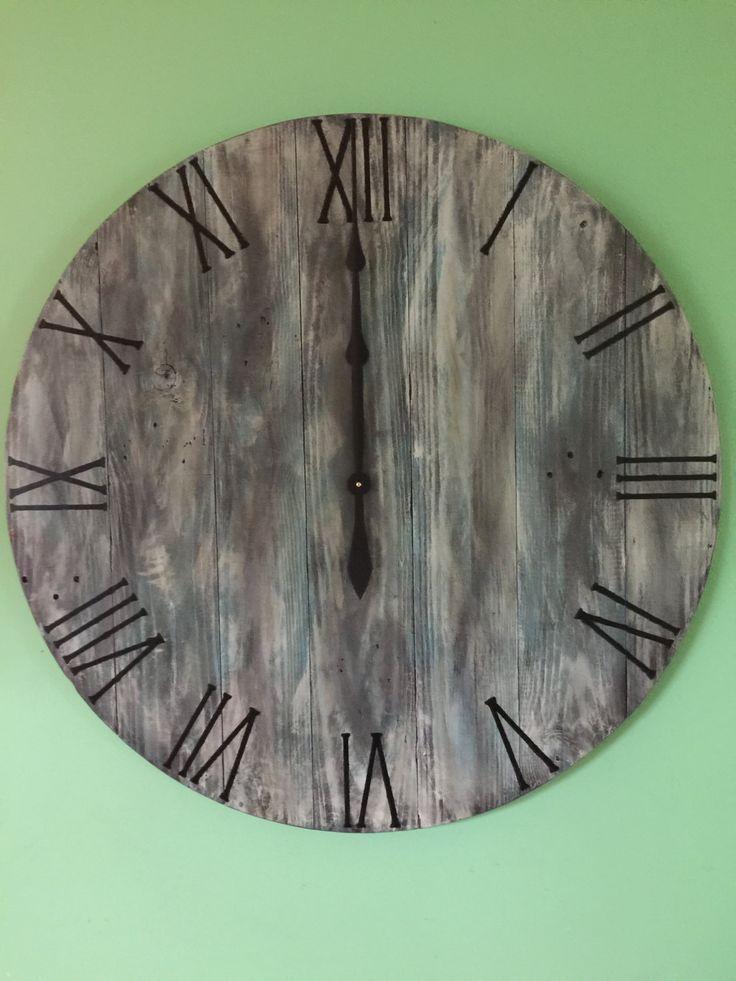 Really love this, from the Etsy shop WoodCreationsbyDino. http://etsy.me/2C6BWSZ #LoveYourShopSweeps#etsy #housewares #clock #antiqueclock #handmadeclock #largeclock #rusticclock #paintedwoodclock #gift #oversizedwallclock