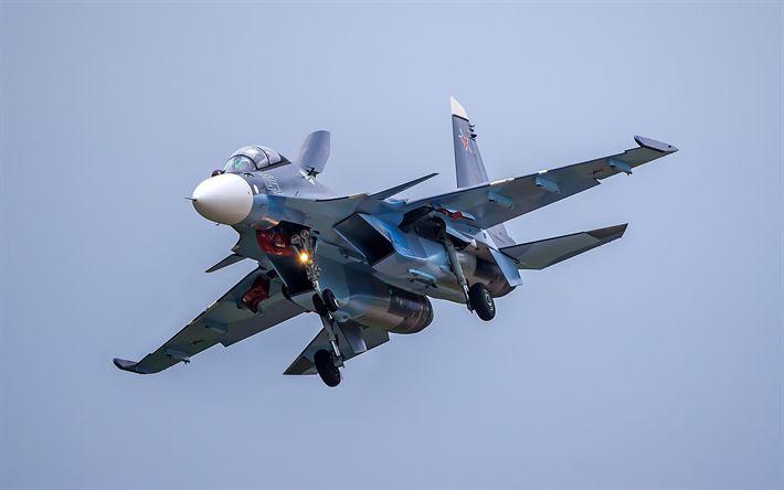 Hämta bilder Su-30SM, stridsflygplan, Ryska Flygvapnet, militär luftfart, Ryssland
