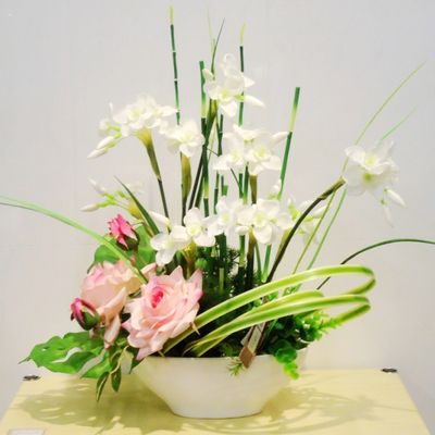 White Carnations, Pink Lotus, Horsetails, And Long Grasses. Part 72