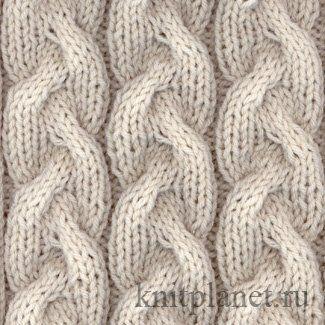 Узор спицами Коса № 1 - Как вязать узор Коса спицами, схема вязания узора
