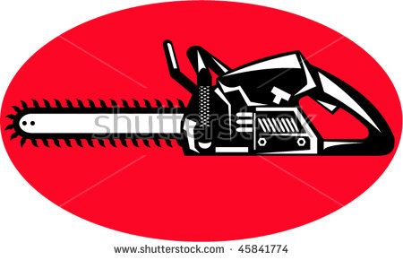 vector illustration or icon of a chainsaw side view set inside an oval or ellipse  #chainsaw #retro #illustration